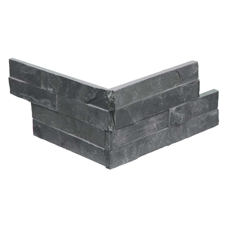 Pacific Slim Brick Black Stone Tile - Corner