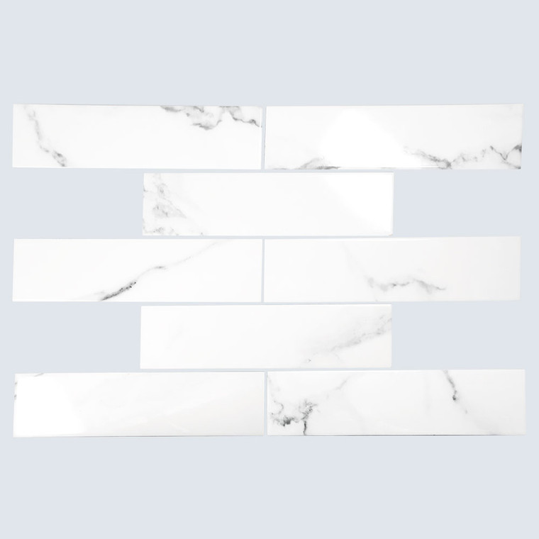 Cape Cod Calacatta Shiny 3x12 Porcelain Subway Tile - Box of 6.15 Sq. Ft.
