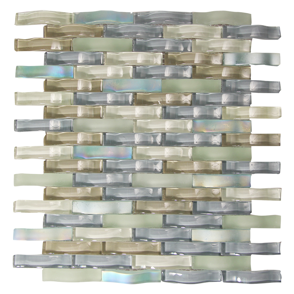 Woven Curved Georgette Mosaic Glass Tile Sample Approximately 3 x 6