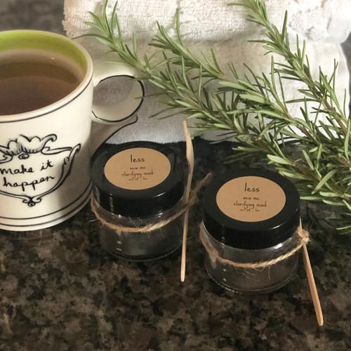 Charcoal mask facial kit, glass jar