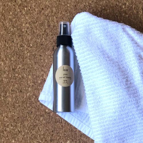 Yoga mat spray in metal bottle