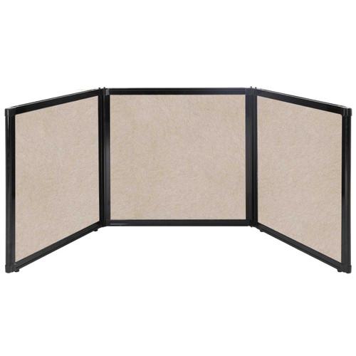 "Folding Tabletop Display 78"" x 24"" Beige High Density Polyester"