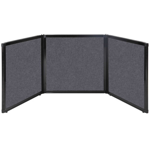"Folding Tabletop Display 78"" x 24"" Dark Gray High Density Polyester"
