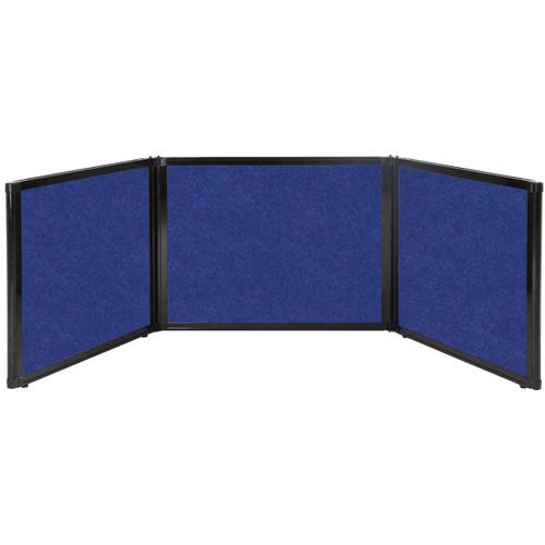 "Folding Tabletop Display 99"" x 24"" Blue High Density Polyester"
