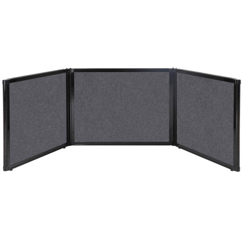 "Folding Tabletop Display 99"" x 24"" Dark Gray High Density Polyester"