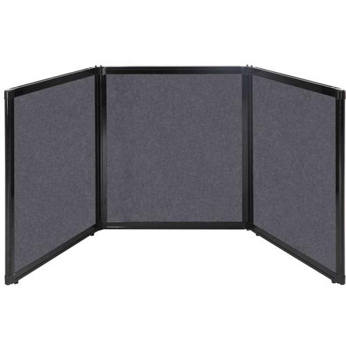 "Folding Tabletop Display 99"" x 36"" Dark Gray High Density Polyester"