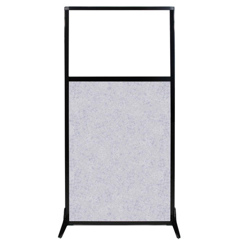 "Work Station Screen 33"" x 70"" Marble Gray High Density Polyester With Clear Window"