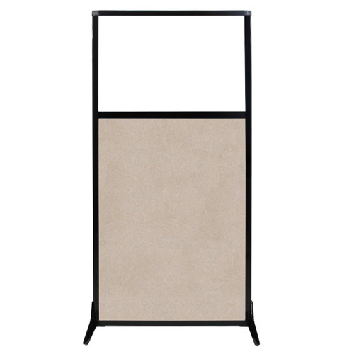 """Work Station Screen 33"""" x 70"""" Beige High Density Polyester With Clear Window"""