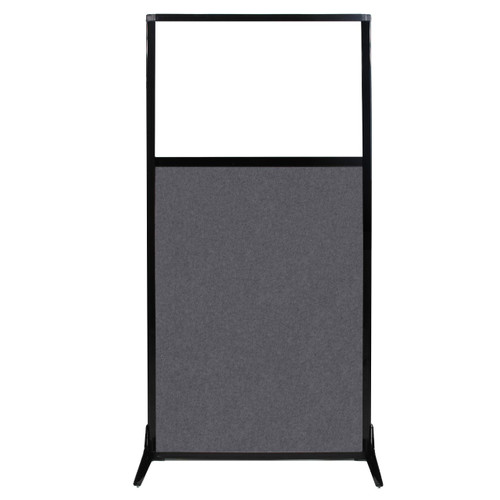 "Work Station Screen 33"" x 70"" Dark Gray High Density Polyester With Clear Window"