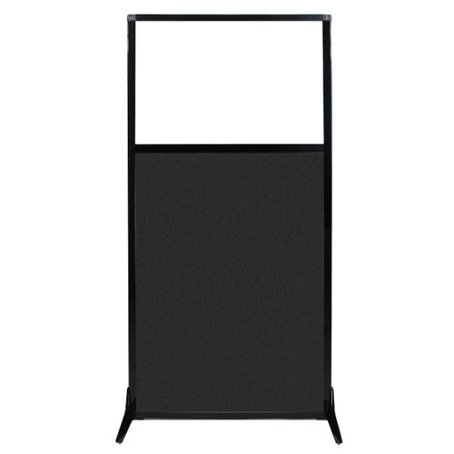 """Work Station Screen 33"""" x 70"""" Black High Density Polyester With Clear Window"""