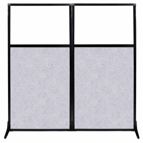 "Work Station Screen 66"" x 70"" Marble Gray High Density Polyester With Clear Window"