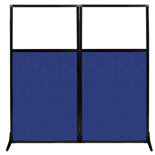 "Work Station Screen 66"" x 70"" Blue High Density Polyester With Clear Window"
