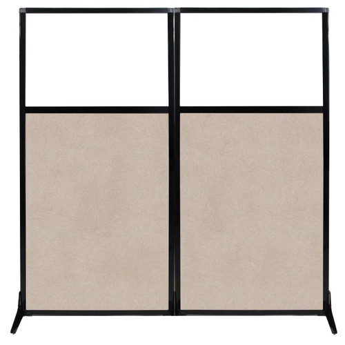"""Work Station Screen 66"""" x 70"""" Beige High Density Polyester With Clear Window"""