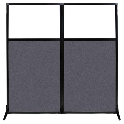 "Work Station Screen 66"" x 70"" Dark Gray High Density Polyester With Clear Window"