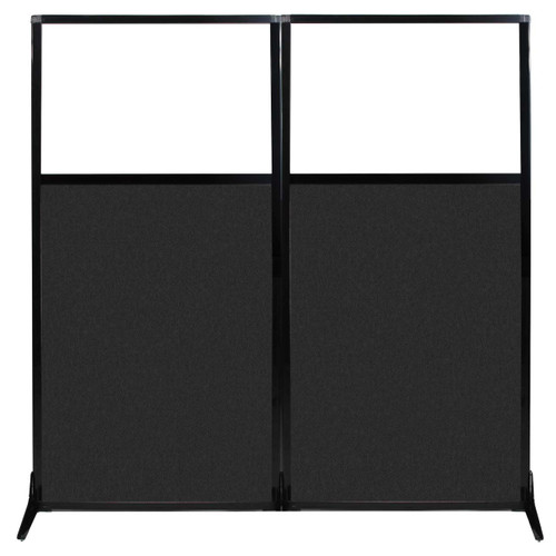 """Work Station Screen 66"""" x 70"""" Black High Density Polyester With Clear Window"""