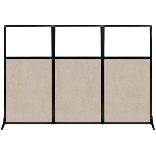 """Work Station Screen 99"""" x 70"""" Beige High Density Polyester With Clear Window"""