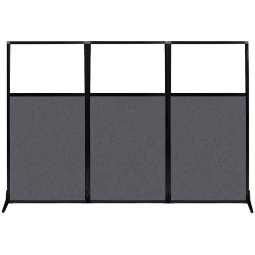 "Work Station Screen 99"" x 70"" Dark Gray High Density Polyester With Clear Window"
