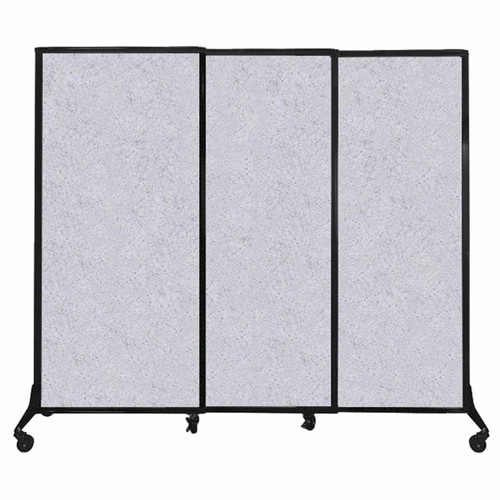 "QuickWall Sliding Portable Partition 7' x 5'10"" Marble Gray High Density Polyester"