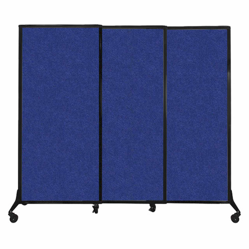 "QuickWall Sliding Portable Partition 7' x 5'10"" Blue High Density Polyester"