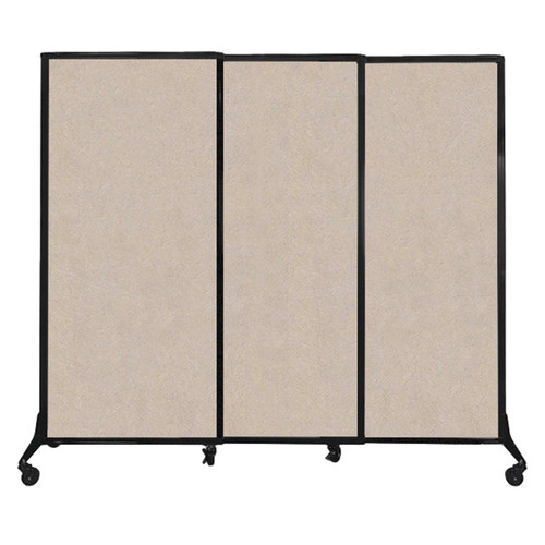 "QuickWall Sliding Portable Partition 7' x 5'10"" Beige High Density Polyester"
