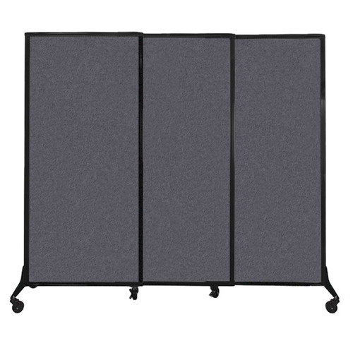"QuickWall Sliding Portable Partition 7' x 5'10"" Dark Gray High Density Polyester"