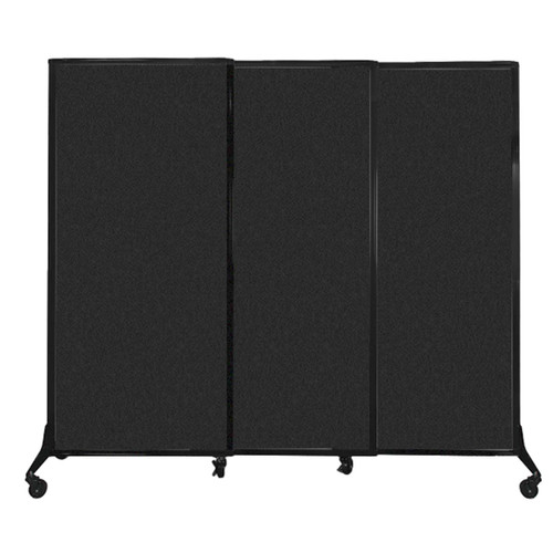 "QuickWall Sliding Portable Partition 7' x 5'10"" Black High Density Polyester"