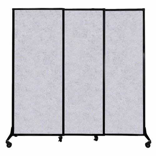"QuickWall Sliding Portable Partition 7' x 6'8"" Marble Gray High Density Polyester"