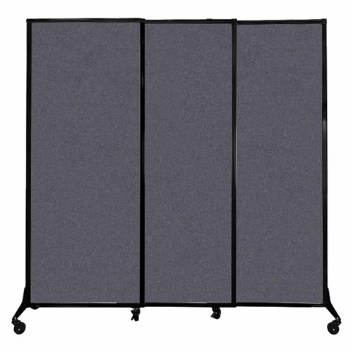 "QuickWall Sliding Portable Partition 7' x 6'8"" Dark Gray High Density Polyester"