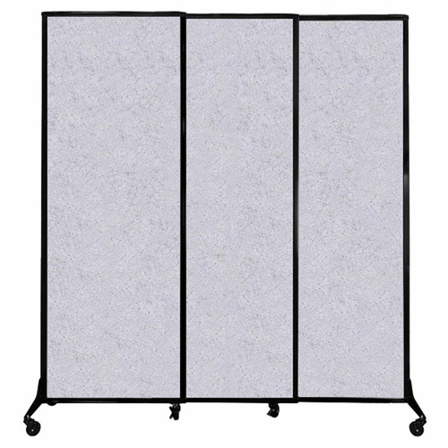 "QuickWall Sliding Portable Partition 7' x 7'4"" Marble Gray High Density Polyester"
