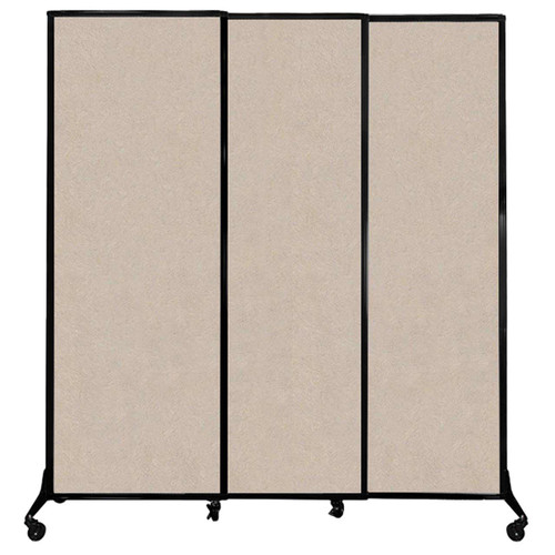 """QuickWall Sliding Portable Partition 7' x 7'4"""" Beige High Density Polyester"""