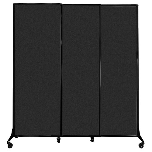 """QuickWall Sliding Portable Partition 7' x 7'4"""" Black High Density Polyester"""
