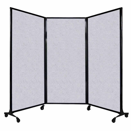 "QuickWall Folding Portable Partition 8'4"" x 5'10"" Marble Gray High Density Polyester"