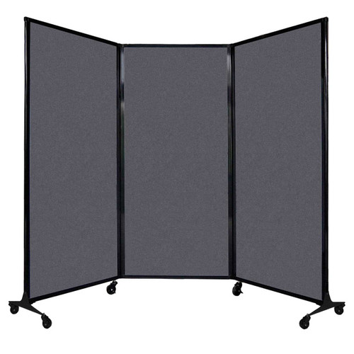 "QuickWall Folding Portable Partition 8'4"" x 5'10"" Dark Gray High Density Polyester"