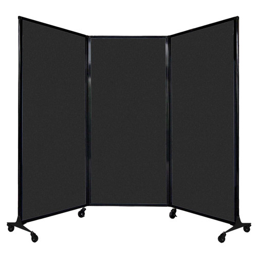 """QuickWall Folding Portable Partition 8'4"""" x 5'10"""" Black High Density Polyester"""