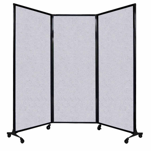 "QuickWall Folding Portable Partition 8'4"" x 6'8"" Marble Gray High Density Polyester"