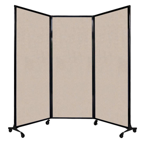"""QuickWall Folding Portable Partition 8'4"""" x 6'8"""" Beige High Density Polyester"""