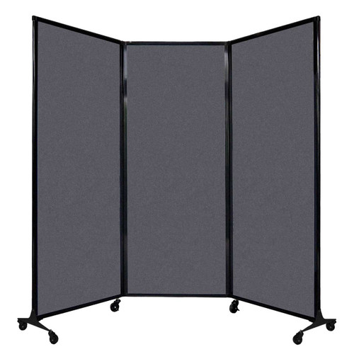 """QuickWall Folding Portable Partition 8'4"""" x 6'8"""" Dark Gray High Density Polyester"""