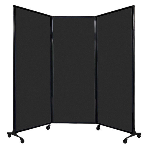 """QuickWall Folding Portable Partition 8'4"""" x 6'8"""" Black High Density Polyester"""