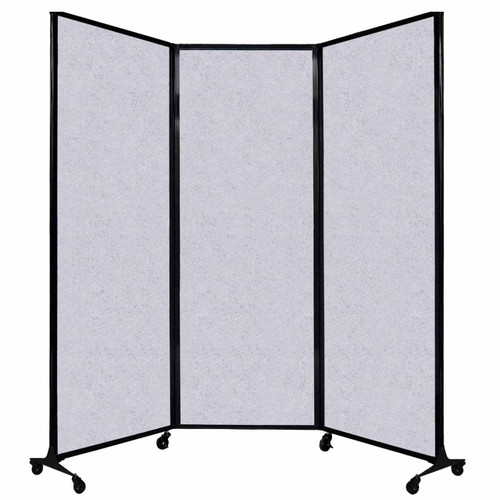 "QuickWall Folding Portable Partition 8'4"" x 7'4"" Marble Gray High Density Polyester"