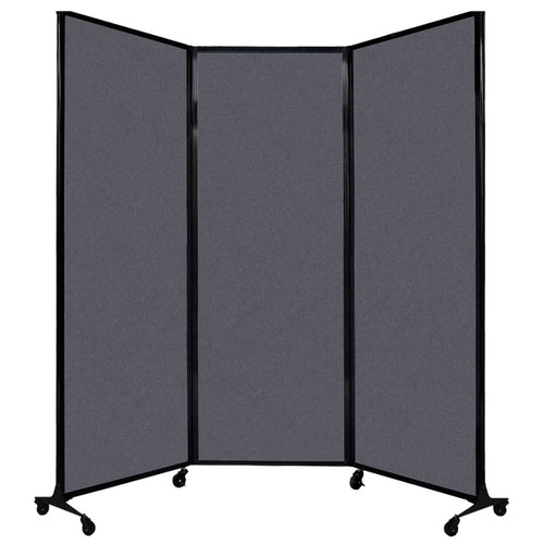 "QuickWall Folding Portable Partition 8'4"" x 7'4"" Dark Gray High Density Polyester"