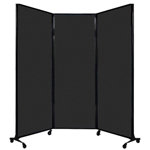 """QuickWall Folding Portable Partition 8'4"""" x 7'4"""" Black High Density Polyester"""