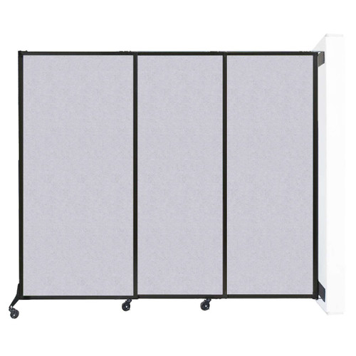 "Wall-Mounted QuickWall Sliding Partition 7' x 5'10"" Marble Gray High Density Polyester"
