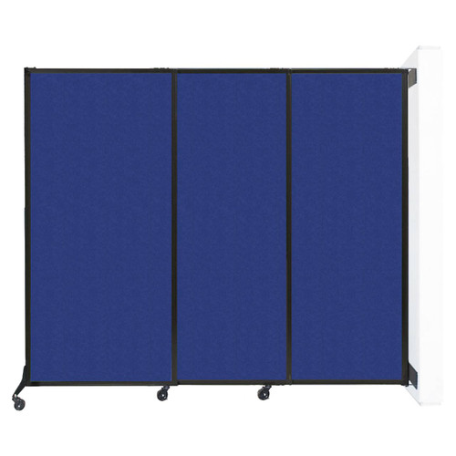 "Wall-Mounted QuickWall Sliding Partition 7' x 5'10"" Blue High Density Polyester"