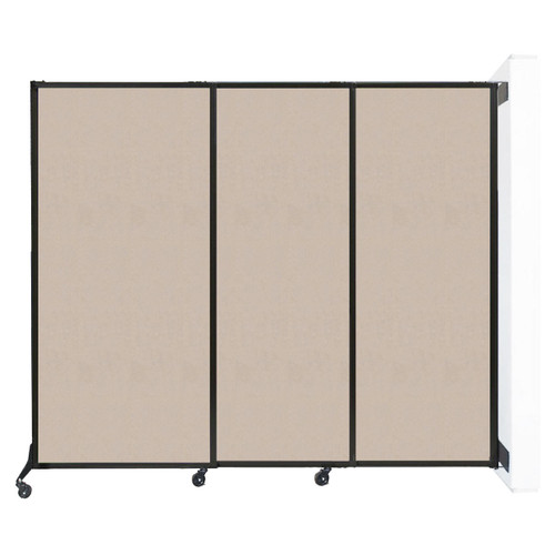 """Wall-Mounted QuickWall Sliding Partition 7' x 5'10"""" Beige High Density Polyester"""
