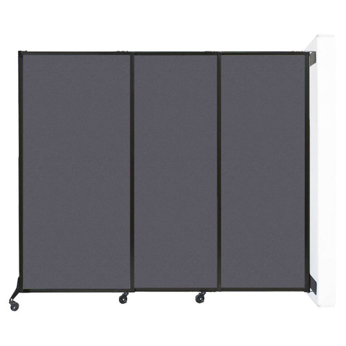 """Wall-Mounted QuickWall Sliding Partition 7' x 5'10"""" Dark Gray High Density Polyester"""