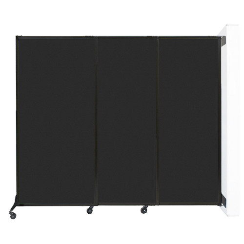 """Wall-Mounted QuickWall Sliding Partition 7' x 5'10"""" Black High Density Polyester"""