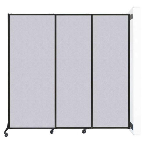 "Wall-Mounted QuickWall Sliding Partition 7' x 6'8"" Marble Gray High Density Polyester"