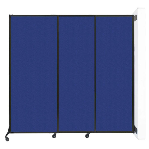 """Wall-Mounted QuickWall Sliding Partition 7' x 6'8"""" Blue High Density Polyester"""