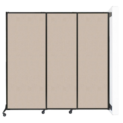"Wall-Mounted QuickWall Sliding Partition 7' x 6'8"" Beige High Density Polyester"