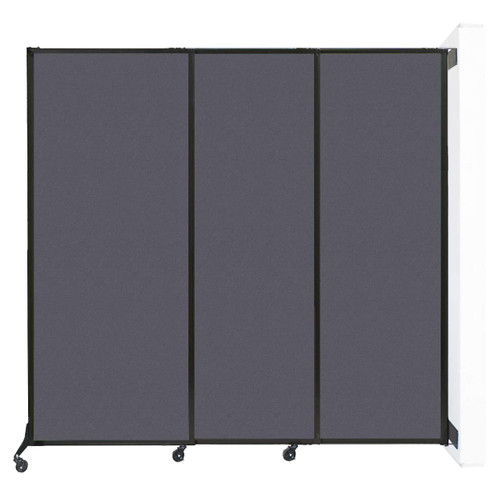 "Wall-Mounted QuickWall Sliding Partition 7' x 6'8"" Dark Gray High Density Polyester"